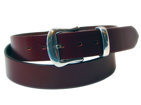 38mm Belt with Pewter Buckle and Keeper on Plain Leather