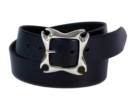 41mm Belt with Devil Horns Buckle on Plain Leather