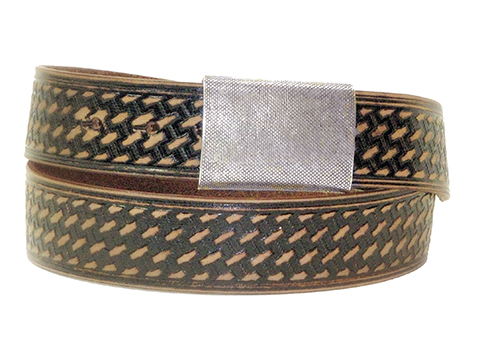 38mm Belt with Army Buckle with Basket-weave Pattern