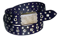 38mm Belt with Army Style Buckle and Rivets and Eyelets on Plain Leather