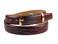 30mm Crocodile Skin Feathered Edge Belt with Silver or Gold buckle and Keeper