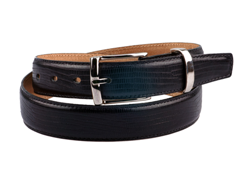 30mm Lizard Skin Feathered Edge Belt with Silver or Gold buckle and Keeper