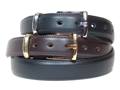 30mm Feathered Edge Belt with Silver or Gold buckle and Keeper