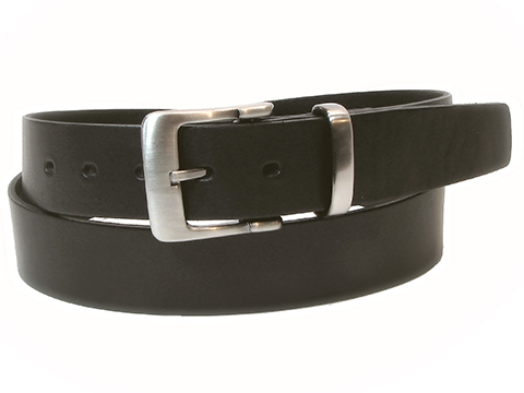 38mm Belt with Square Buckle and Metal Keeper on Plain Leather