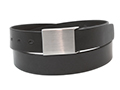 34mm Belt with Small Military Style Brushed Nickel Buckle on Plain Leather