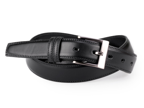 30mm Feathered Edge Belt with Brushed Black Nickel buckle