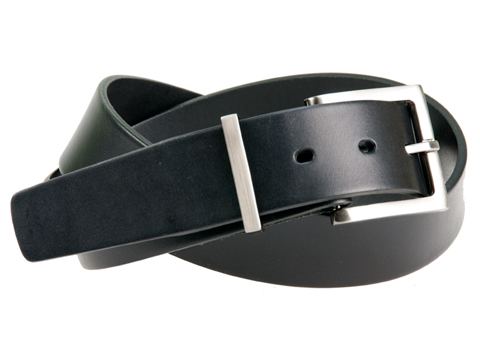 38mm Belt with Brushed Black Nickel Buckle and Metal Keeper on Plain Leather
