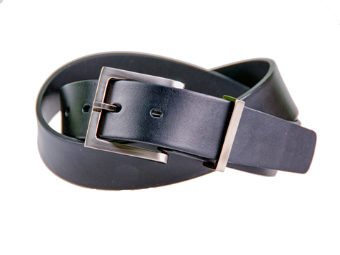 30mm Belt with Brushed Black Nickel Buckle and Metal Keeper on Plain Leather
