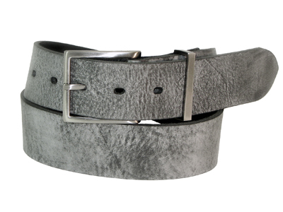 30mm Belt with Brushed Black Nickel Buckle and Metal Keeper on Marbled Grey Leather
