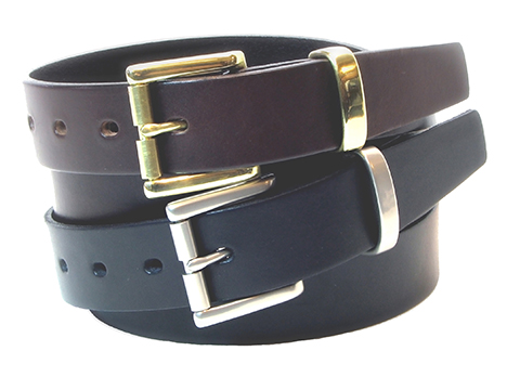 30mm Belt with Roller Buckle and Metal Keeper on Plain Leather