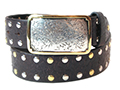 38mm Belt with Rectangle Engraved Trophy Buckle on Textured Leather with Rivets