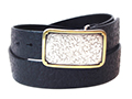 38mm Belt with Rectangle Engraved Trophy Buckle on Textured Leather