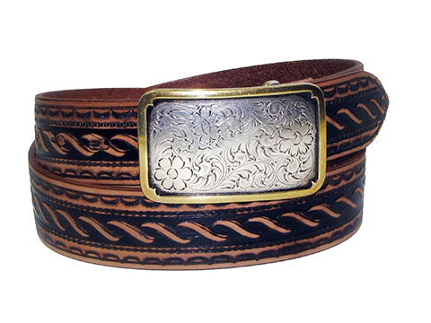 38mm Belt with Rectangle Engraved Trophy Buckle on Aged Rope Pattern Embossed Leather
