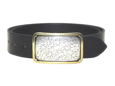 38mm Belt with Rectangle Engraved Trophy Buckle on Plain Leather