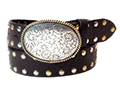 38mm Belt with Oval Engraved Trophy Buckle on Textured Leather with Rivets