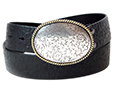 38mm Belt with Oval Engraved Trophy Buckle on Textured Leather
