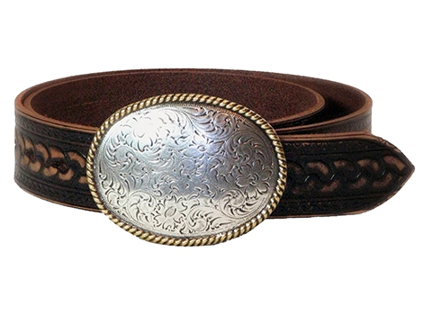 38mm Belt with Oval Engraved Trophy Buckle on Aged Rope Pattern Embossed Leather