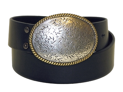 38mm Belt with Oval Engraved Trophy Buckle on Plain Leather