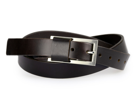 25mm Belt with Brushed Nickel Buckle and Leather Keeper on Plain Leather