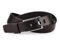 34mm Belt with Nickel Buckle and Leather Keeper on Plain Leather