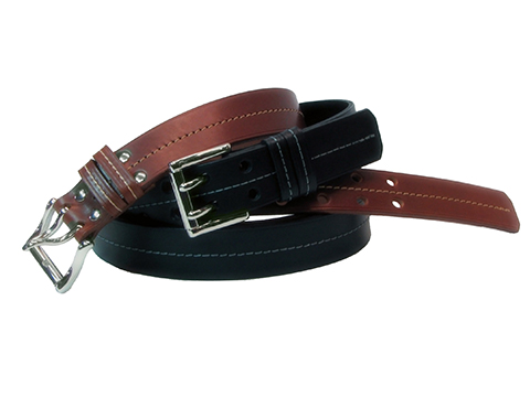 34mm Belt with 2-Prong Nickel Roller Buckle and Leather Keeper and Decorative Stitchline on Plain Leather