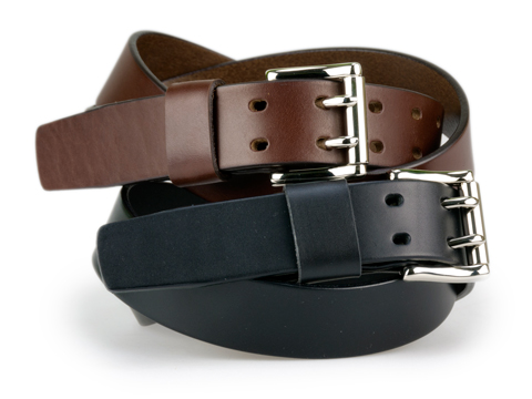 34mm Belt with 2-Prong Nickel Roller Buckle and Leather Keeper on Plain Leather