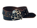 38mm Belt with Skull and Crossbones Buckle on Aged Distressed Leather