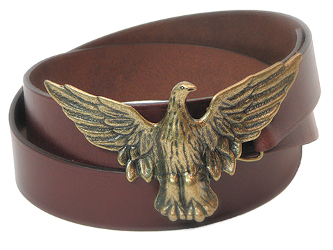 38mm Belt with Spread Wings Eagle Trophy Buckle on Plain Leather