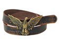 38mm Belt with Spread Wings Eagle Trophy Buckle on Aged Leather