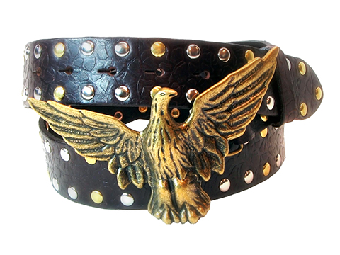 38mm Belt with Spread Wings Eagle Trophy Buckle on Textured Leather with Rivets