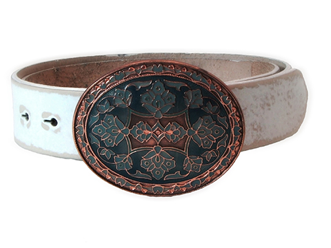 38mm Belt with Oval Copper with Blue Enamel Trophy Buckle on Plain Leather