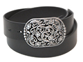 38mm Belt with Filigree Belt Buckle on Plain Leather