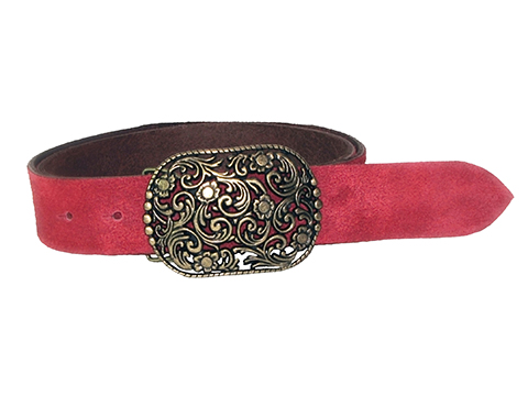 38mm Belt with Filigree Belt Buckle on Suede Leather