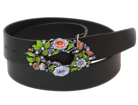 38mm Belt with Morning Glory and Diamantes Belt Buckle on Plain Leather