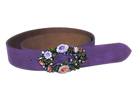 38mm Belt with Morning Glory and Diamantes Belt Buckle on Suede Leather