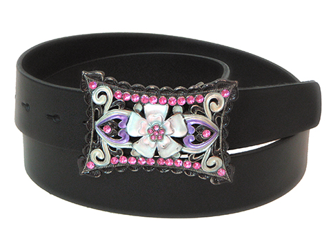 38mm Belt with Posy and Diamantes Belt Buckle on Plain Leather