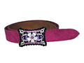 38mm Belt with Posy and Diamantes Belt Buckle on Suede Leather