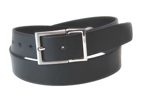 34mm Belt with Brushed Nickel Articulated Buckle with Inbuilt Keeper on Porvair Leather