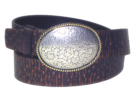 38mm Belt with Oval Engraved Trophy Buckle on Aged Embossed Leather