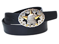 38mm Belt with Bald Eagle head over the Texas Lone Star Trophy Buckle on Embossed Leather