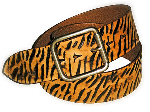 50mm Belt Square Double Buckle on Tiger Skin Pattern Embossed Leather