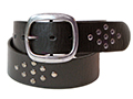 45mm Belt with Oval Double Buckle and Diamond Pattern Rivets on Distressed Leather