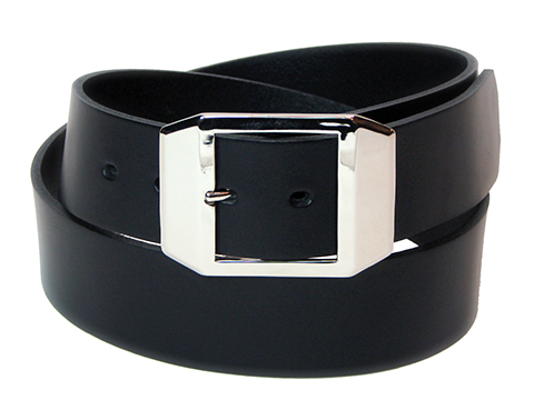 45mm Belt with Bevelled Corner Double  Buckle on Plain Leather