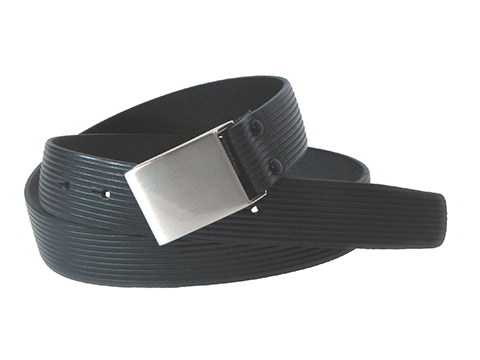 34mm Belt with Military Style Brushed Nickel Buckle on Ribbing Pattern Embossed Leather