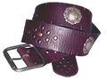 50mm Belt with Square Double Buckle and Diamond Pattern Rivets and Round Saddle Conchos on Distressed Leather