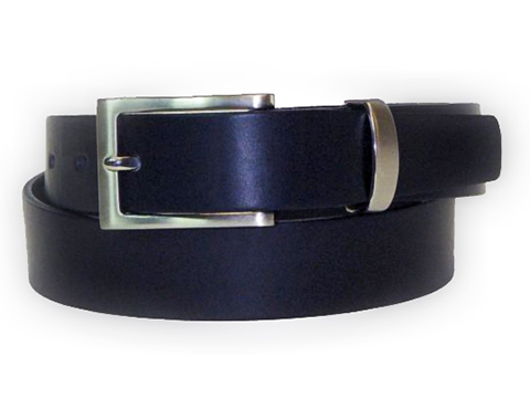 30mm Belt with Brushed Nickel Buckle and Metal Keeper on Plain Leather