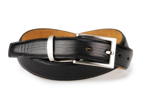 30mm Lizard Skin Featheredge Belt with Brushed Nickel Buckle and Metal Keeper on Plain Leather