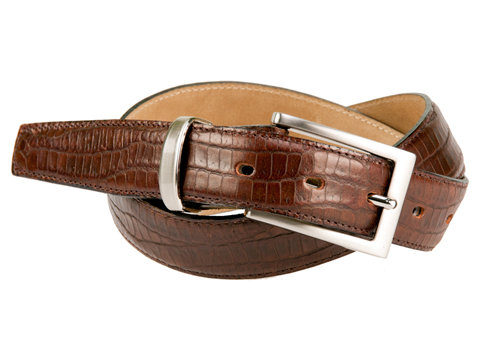 30mm Crocodile Skin Featheredge Belt with Brushed Nickel Buckle and Metal Keeper on Plain Leather