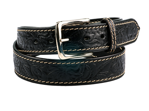 38mm Belt with Western Rose Pattern Carving and Westend Buckle and Leather Keeper