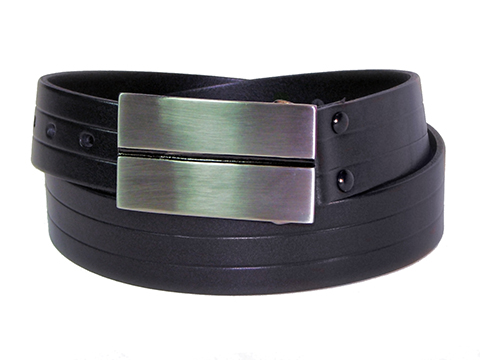34mm Belt with Post and Ball Brushed Nickel Buckle with Centre Scribe Line